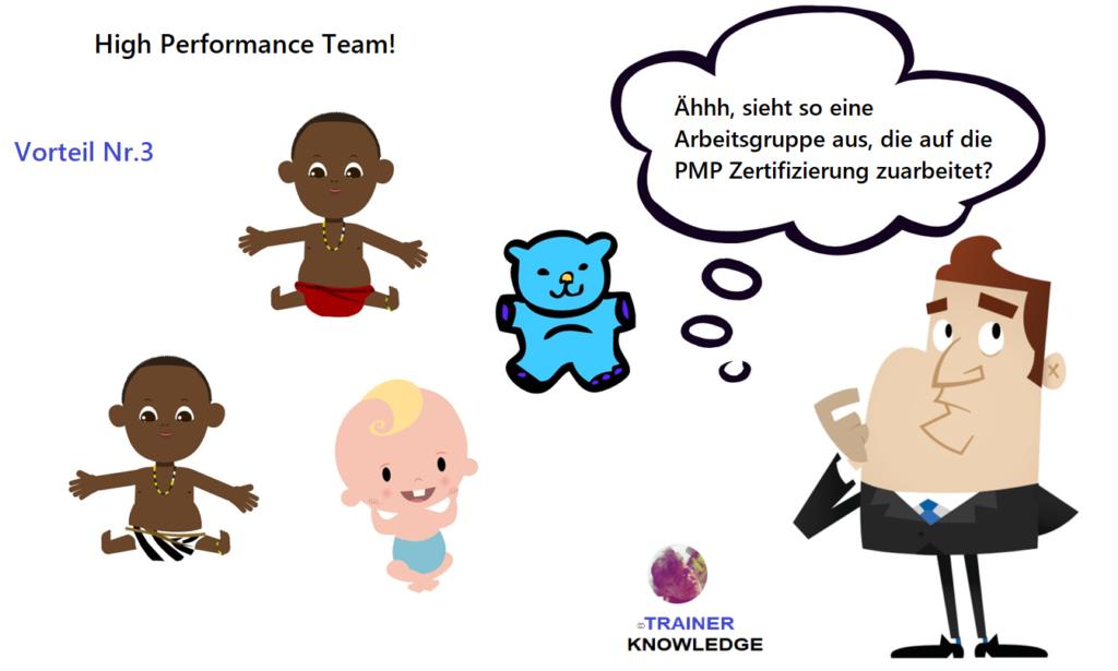 Das Bild zeigt einen Projektmanager, der an einer PMP Arbeitgruppe teilnehmen will. Die Arbeitsgruppe besteht aus mehreren weißen und farbigen Babys und einem Teddy Bär. Der Mann ist sich nicht sicher, ob diese Arbeitsgruppe Ziel führend ist.