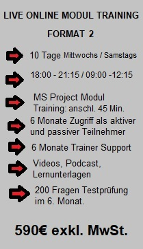 LIVE ONLINE MODUL Traing Format 2, 590€.