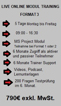 LIVE ONLINE Modul Training, Format 3, 790€