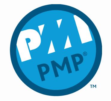 PMI PMP. Ein runder Aufkleber von PMI.