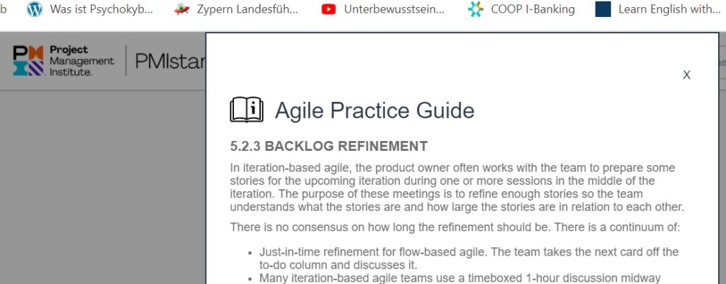 Eine Beschreibung aus dem Agile Practice Guide, wie man ein Backlog Refinement durchführt