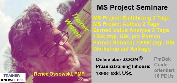 Werbung für MS Project Seminare. Preise pro Person: 150€ zzgl. USt. für ein 2 Tages Seminar.