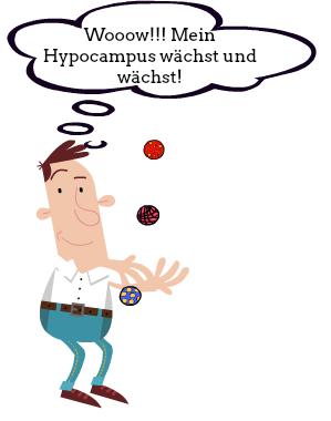 Ein Mann jongliert im PMP® Seminar mit drei Bällen. Dabei fühlt der seinen Hypocampus wachsen.
