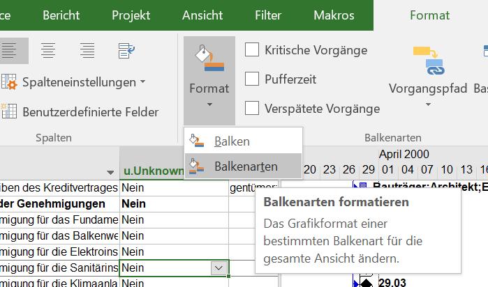 Format - Balken - Balkenarten in MS Project