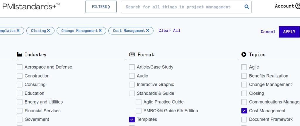 Die PMIstandard+ ermöglicht den Download von Templates.