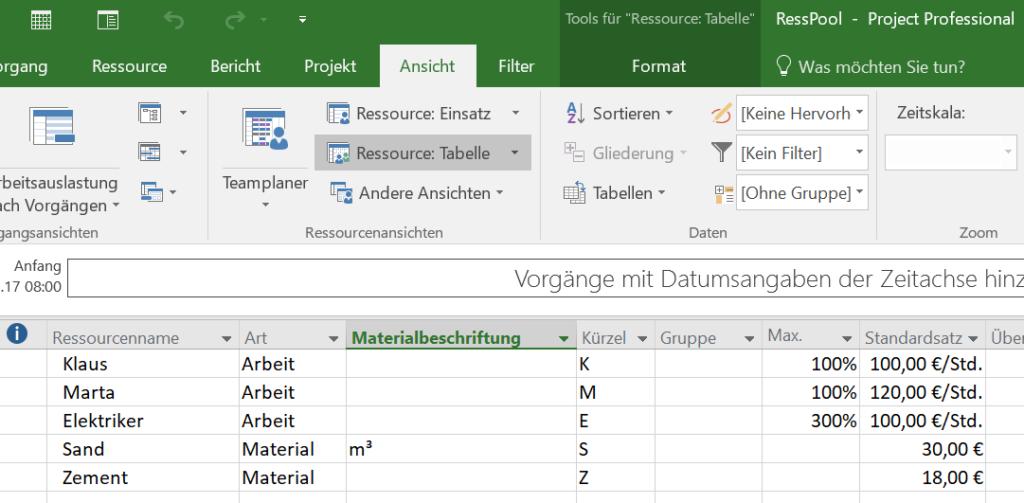Das Bild zeit die Ansicht Ressource:Tabelle in MS Project. Hier werden die Namen und die Stammdaten der Ressourcen eingegeben.