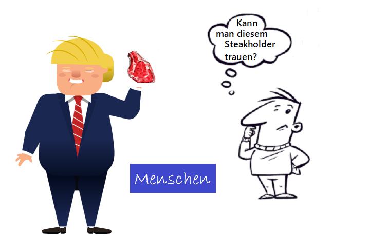"""Ein Mann der aussieht wie Trump, hält ein Steak hoch. Der Projektleiter fragt sich, """"Kann man diesem Steakholer vertrauen""""?"""