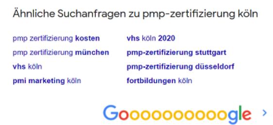 Auf dem Bild erscheinen Suchworte zum Thema PMP Zertifizierung durch Google.