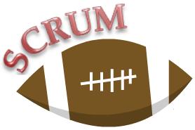 Das Bild zeigt einen Rugby Ball mit der Überschrift SCRUM