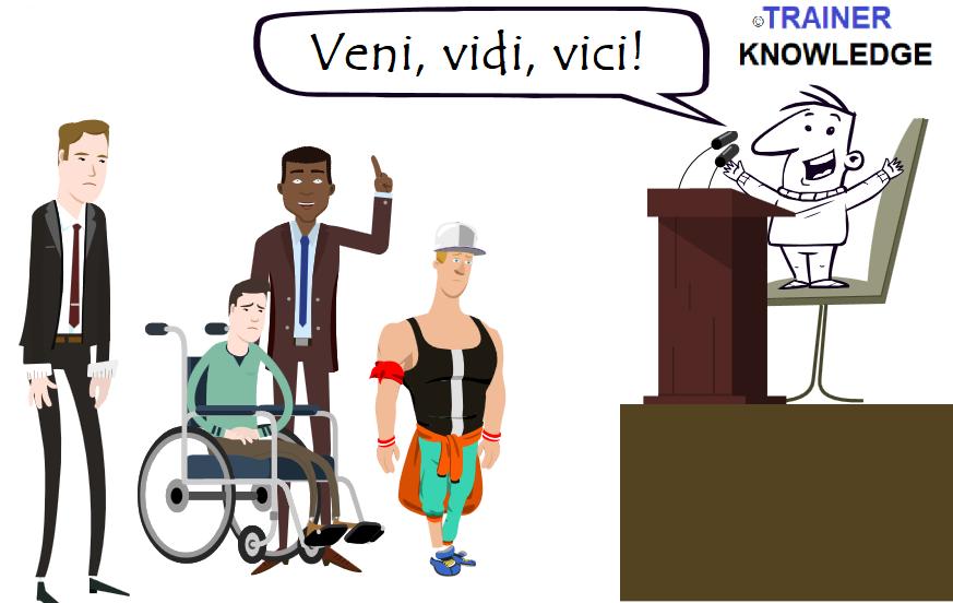 """Ein Redner verwendet den berühmten Ausspruch Cäsars, """"Veni, Vidi, Vici!""""."""