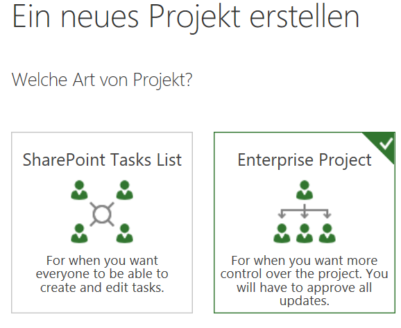 Enterprise Project auswählen