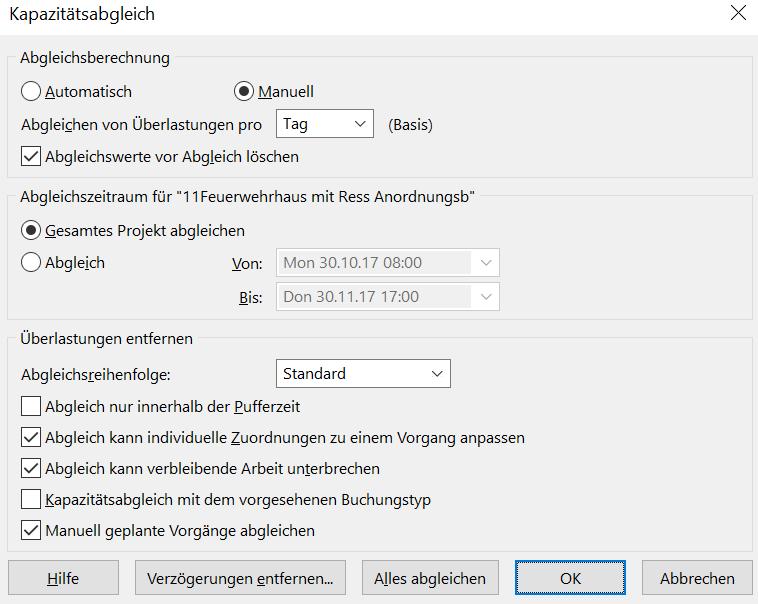 Optionen für die Anwendung des Kapazitätsabgleichs in MS Project