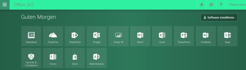 Übersicht von Office 365