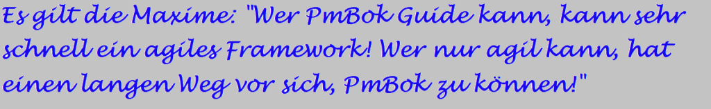 """Es gilt die Maxime: """"Wer PmBok Guide kann, kann sehr schnell ein agiles Framework! Wer nur agil kann, hat einen langen Weg vor sich, PmBok zu können!"""""""